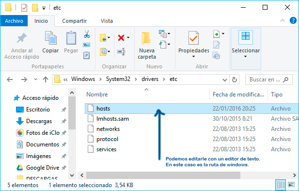 Fichero-host-windows-ruta